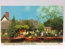 Vintage Postcard Thatched Cottage, Tea Gardens and Boats, Flatford, UK