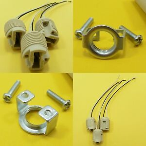 Ceramic Lamp Holder G9 15cm Leads LED Bulb Socket & M10 Metal Bracket Halogen