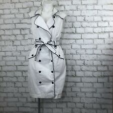 Calvin Klein Sailor Double Breasted Trench Dress White Black Belted Lined size 1