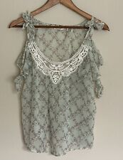 Denim & Supply Ralph Lauren Sheer Cold Shoulder Floral Peasant Boho Top Mint Gre