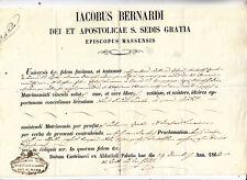 AA709-CASTELNUOVO GARFAGNANA-CERTIFICATO VESCOVILE 1863