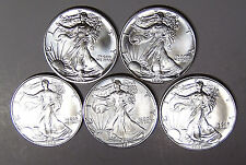 Set of 5 American Silver Eagles 1989 1990 1991 1992 1993 Silver Dollars BU Coins