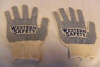 RARE VINTAGE WESTERN SAFETY ADVERTISING WORK WORKING GLOVES CLOTHING W BLUE DOTS