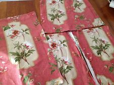6 small remnants Colefax & Fowler Peony Cartouche linen fabric