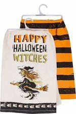 "New!~Tea Towel~Happy Halloween Witches~Black/Orange Stripe~28""~Hand/Kitc hen/Dish"