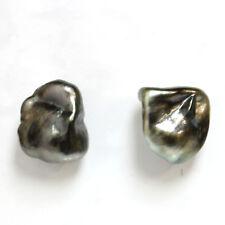 Tahitian Keshi Seed Stud Pearl Earrings 14k gold  13 mm Black