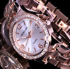 Excellanc Uhr Damenuhr Armbanduhr Silber Rose Gold Farben Metall Strass KL 56 B