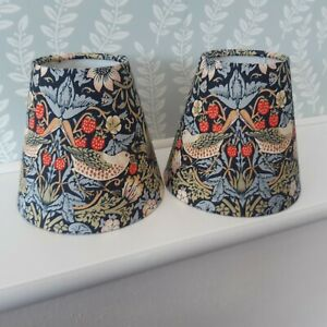 """A pair of handmade candle clip lampshades in  William Morris """"Strawberry Thief"""""""