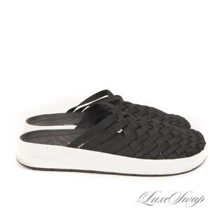 LNWOB Malibu Black Microfiber Basketweave Woven Mules Scuffs Shoes 10 MODERN NR