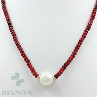 13x13mm White Baroque Pearl Pendant Ruby Necklace 18 inches Aurora Hang Real