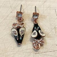 BETSEY JOHNSON Black Mouse Rhinestone Cute Drop Dangle Earrings Asymmetrical