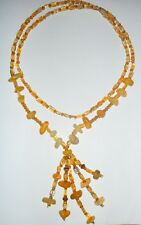Long Lariat Carneol and Crystal  Beaded Necklace