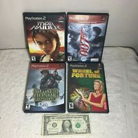#4 Lot of 4 PlayStation 2 Games -Tomb Raider 007 Wheel of Fortune Medal of Honor