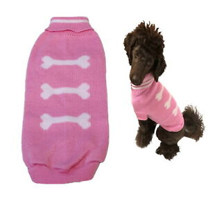 Dog Sweater Pink Bones  XXS XS S M L - Warm Puppy Clothes Jumper Chihuahua