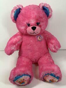 """Build A Bear BAB Pink Fuchsia Donut Doughnut Sprinkles 16"""" Teddy Bear Plush Toy"""