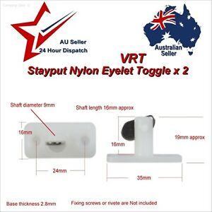 2x Stayput Fasteners Vertical Double VRT 8mm Stay Put T Toggles canvas tarp van