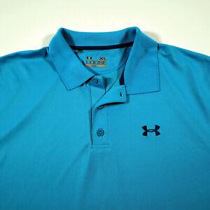 Under Armour Heat Gear Loose XL Polo Golf Shirt Blue Chest Logo Short Sleeve