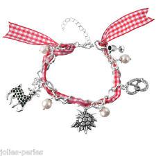 JP Women Edelweiss Deer Pendant Charm Red Plaid Ribbon Bracelet Bangle Wristband