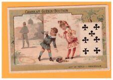 IMAGE Chromo CHOCOLAT GUERIN BOUTRON / JEU de CARTES 7 Trefle / ENFANT ARGENT