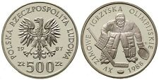 1987 Poland Proof  Silver 500 ZL Olympic Hockey