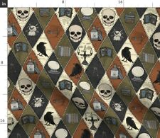 New listing Retro Gothic Halloween Patchwork Skull Magic Spoonflower Fabric by the Yard