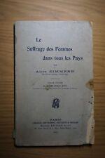"""Rare book """"Le suffrage des femmes dans tous les pays"""" by Alice Zimmern 1911"""