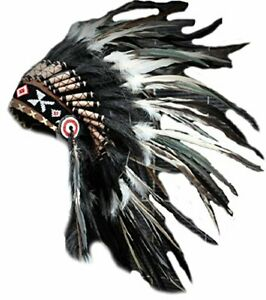 Native American Indian Inspired Feather Short Length Headdress Black Swan Color