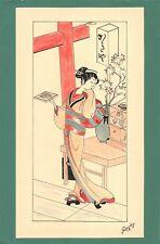 Dessin encre de chine & aquarelle Japon Hand made china ink signé Geneviève n2