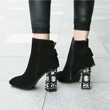 Women's Rhinestone Block High Heel Leather Pointed Toe Ankle Boots Shoes Plus Y7