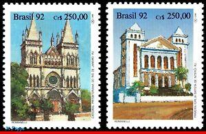 2347-48 BRAZIL 1992 PRESBYTERIAN CHURCH, FIRST BAPTIST CHURCH, MI# 2450-51, MNH