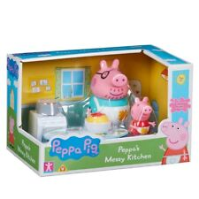 Peppa Pig Peppa's Messy Kitchen Playset With 2 Articulated Figures Toy Playset