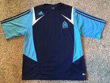 Adidas Olympique DE MARSEILLE SOCCER JERSEY DROIT AU BUT EUFA FIFA Mens L Blue