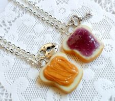 Peanut Butter Jelly Lock & Key Necklace Set, Choice of Stainless Steel Chains :)