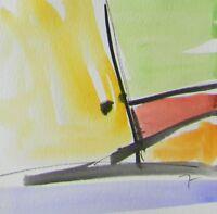 JOSE TRUJILLO - ORIGINAL Watercolor Painting Abstract Minimalist 6x6 CONCEPTUAL