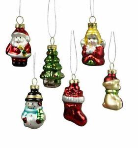 Glitzy Mini Christmas Characters Shaped Baubles - Set of 6 Xmas Tree Ornaments