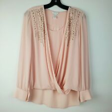 Cache Hi Low X-Small Pink Surplice Beaded Embellished Blouse Top Size Date Night
