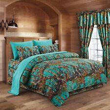 Premium Luxury Camo Comforter Set Teal Blue Camouflage 3-Piece Bedding Set King