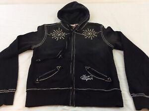 True Religion Black & Silver Studs Womens Large Full Zip Hoodie Jacket Coat