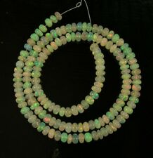 "White ETHIOPIAN WELO OPAL smooth rondelle beads AAA 4mm 16"" strand"