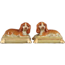 Staffordshire Reproduction King Charles Spaniel Dog On Pillows Set of 2 Figurine