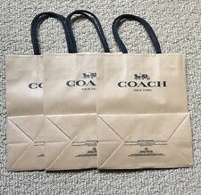 Lot of 3 New COACH NY Outlet Store Brown Paper Small Shopping Bag  Collectible !