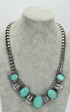 """Vintage Necklace Metal & Bead 19"""" to 22"""" Princess Silver & Turquoise Tone"""
