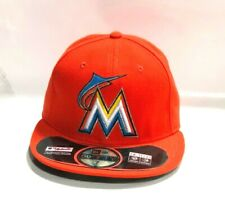 online store c2e7a 7a026 MLB Miami Marlins Era 59fifty 5950 Fitted Hat Cap Orange on Field 7 3 4