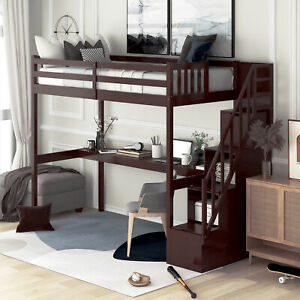Twin Loft Bed with Functional Staircase and Built-in Desk Creative Design Bed