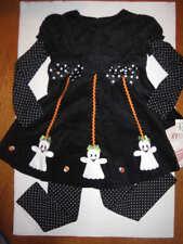 Bonnie Jean Girls Black/white 2Pc Halloween corduroy ghost Legging Set Size 6 NW