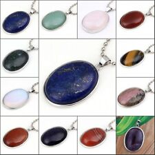 Natural Silver Plated Amethyst Rose Quartz Stone Oval Shape Bead Pendant Jewelry