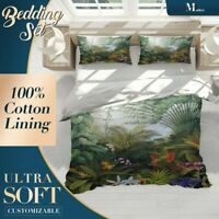 Rainforest Morning Forest Jungle Green Duvet Cover Set with Zipper n Pillowcase