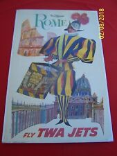 """"""" Fly TWA JETS - Rome """" by David Klein  Orig. 1965 Vintage Travel Poster - Italy"""