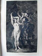 1m44 Gravure eau forte de P.P. Rubens, Persée délivrant Andromède, l'art 1878