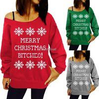 Womens Jumper Pullover Xmas Hoodies Top Winter Sweatshirt Ladies Size M-XXL UK